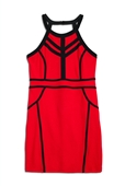 Plus Size Open Back Panelled Contrast Bodycon Dress Red