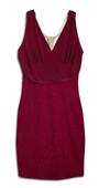 Plus Size Empire Waist Dress with Necklace Detail Burgundy