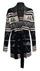 Plus size Knit Coat Abstract Print