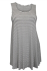 Plus size Stripe Print Sleeveless Dress Top White