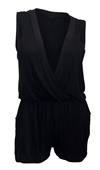 Plus size Deep V-Neck Sleeveless Romper Black