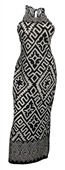 Plus size Maxi Abstract Print Halter Dress Black