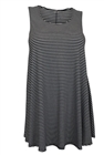Plus size Stripe Print Sleeveless Dress Top Black