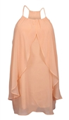 Plus size Mesh Chiffon Draped Dress Peach