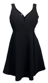 Plus Size Pleated Bodice Sleeveless Flare Dress Black