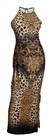 Plus size Maxi Animal Print Halter Dress Brown