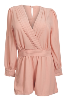 Plus Size Long Sleeve Romper Mauve | eVogues Apparel
