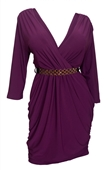 Plus size Deep V-Neck Wrap Bodice Long Sleeve Dress Purple
