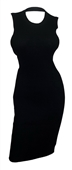 Plus size Open Back Ribbed Sleeveless Dress Black