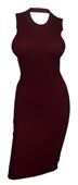 Plus size Open Back Ribbed Sleeveless Dress Burgundy