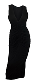 Plus size Jersey Knit Ruched Maxi Dress Black