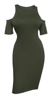 616bfbd7e18 Plus size Off Shoulder Dress Olive Green