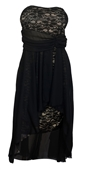 Plus Size Empire Waist Layered High Low Dress Black