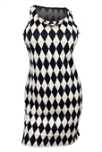 Plus Size Checkered Dress with Necklace Detail