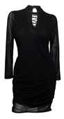 Plus size Lace Up Long Sleeve Mesh Dress Black