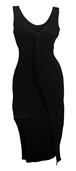 Plus size Asymmetric Hemline Sleeveless Dress Black