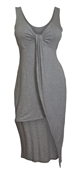 Plus size Asymmetric Hemline Sleeveless Dress Gray