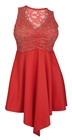 Plus size Lace Overlay Sleeveless Dress Coral