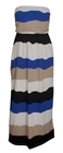 Plus size Colorblock Maxi Tube Dress Blue