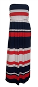 Plus size Colorblock Maxi Tube Dress Red