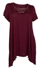 Plus Size Lace Up Tunic Top Burgundy