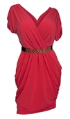Plus size Deep V-Neck Wrap Bodice Dress Coral2