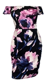 Plus Size Off The Shoulder Floral Dress Black
