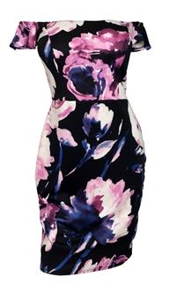 Plus Size Off The Shoulder Floral Dress Black