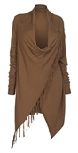 Women's Soft Knit Fringed Shawl Cotton Sweater Cardigan Brown