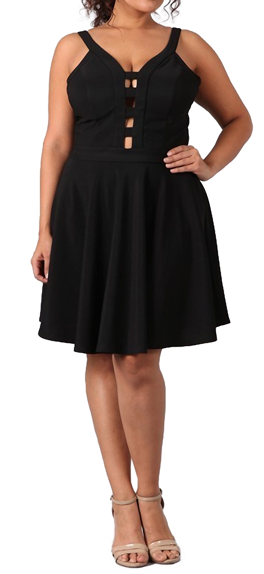 Women S Peep Hole Fit And Flare Dress Black Evogues Apparel