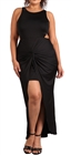 Women's Sleeveless Cut Out Maxi Dress Black