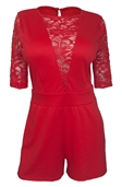Women's Half Sleeve Lace Detail Romper Red