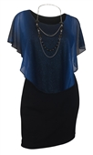 Women's Layered Poncho Dress Glitter Royal Blue 17513