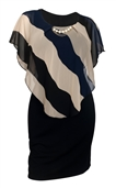 Women's Layered Poncho Dress Stripe Print Navy 1761