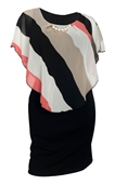 Women's Layered Poncho Dress Stripe Print Coral 1761
