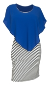 Women's Layered Poncho Dress Stripe Print Skirt Royal Blue 1761