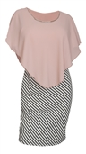 Women's Layered Poncho Dress Stripe Print Skirt Pink 1761