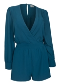 Plus Size Long Sleeve Romper Teal