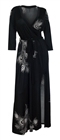 Plus Size Wrap Maxi Dress Black Designer Print 8717