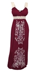 Plus Size Embroidery Print Empire Waist Maxi Dress Burgundy 8717