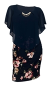 Plus Size Layered Poncho Dress Navy Floral Print Skirt 1792