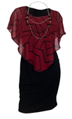 Plus Size Layered Poncho Dress Abstract Print Burgundy 17109