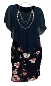 Plus Size Layered Poncho Dress Navy Pink Floral Print Skirt 18223