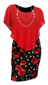 Plus Size Layered Poncho Dress Red Floral Print Skirt 18223-2