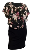 Plus Size Layered Poncho Dress Floral Print Black 18329