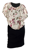 Plus Size Layered Poncho Dress Floral Print Ivory 18329