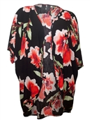 Plus size Long Open Front Kimono Cardigan Black Floral Print 18421