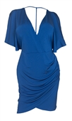 Plus size Deep V-Neck Wrap Bodice Dress Royal Blue 18528