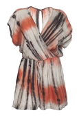 Plus size Wrap Bodice Romper Tie Dye Orange