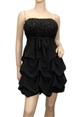 Plus Size Black Sequined Princess Ruffle Dress